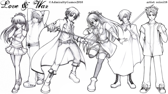 Character art for Love & War PC game, later on colored and used for intro cinematic in game and social media ads.
